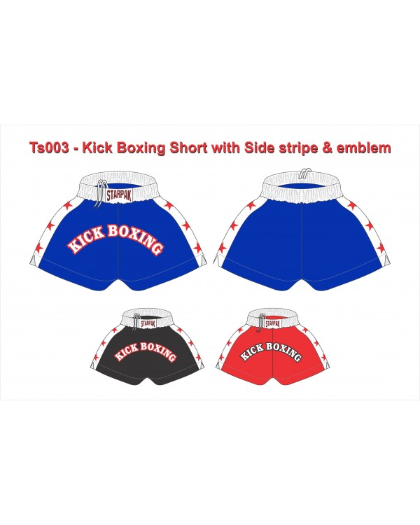 "Kick Boxing Short with Side stripe & emblem ""TS3"""